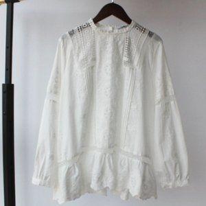 NWT Zara White Lace Cut Out Blouse